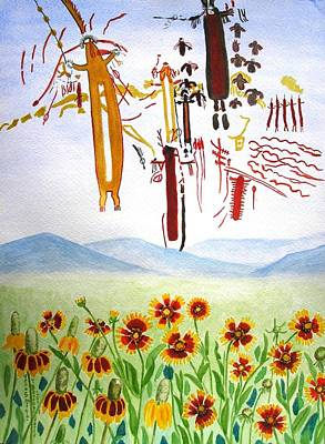 Wildflowers And Rock Art At Halo Shelter  Art Print