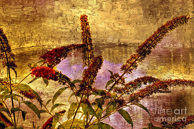 Wildflowers At The Pond Art Print by Elaine Manley