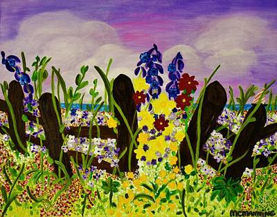 Art Print featuring the painting Wildflowers By The Sea by Celeste Manning
