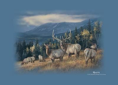 Elk Digital Art - Wildlife - Autumn Gold Elk by Brand A