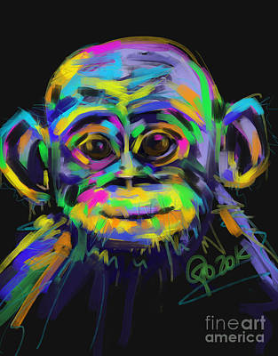 Painting - Wildlife Baby Chimp by Go Van Kampen
