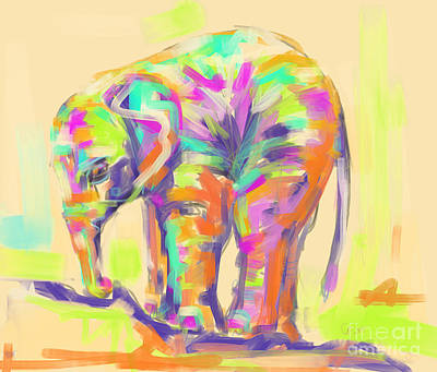 Painting - Wildlife Baby Elephant by Go Van Kampen