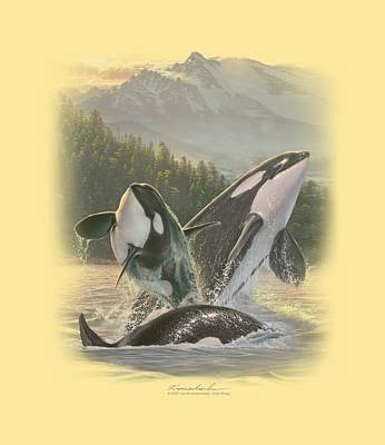 Orca Digital Art - Wildlife - Breaching Orcas by Brand A