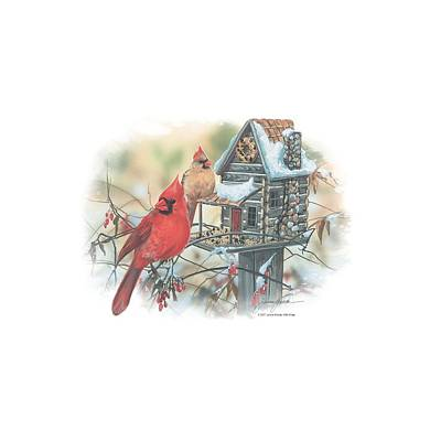 Cardinal Digital Art - Wildlife - Cardinals Rustic Retreat by Brand A