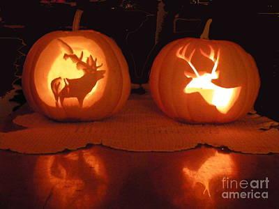 Wildlife Halloween Pumpkin Carving Art Print