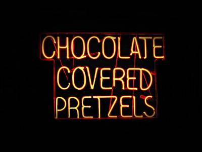 Pretzels Photograph - Wildwood Boardwalk Nighttime Neon Sign by David Dehner