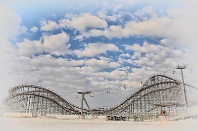 Rollercoaster Digital Art - Wildwood Boardwalk Rollercoaster by Bill Cannon