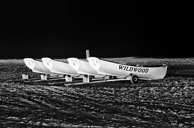 Wildwood Lifeboats At Night In Black And White Art Print