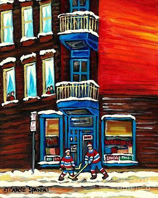 Painting - Wilenskys Corner Deli  Montreal Paintings  Street Hockey Art City Scene Rue Fairmount Cspandau by Carole Spandau