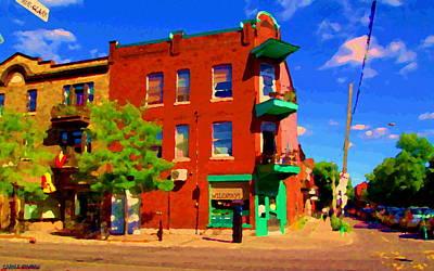 Quebec Streets Painting - Wilenskys Deli Light Lunch Famous Sandwich Coffee Shop Art Of Montreal Street Scene Carole Spandau by Carole Spandau