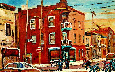 Street Hockey Painting - Wilenskys Hockey Art Paintings Originals Commissions Prints Montreal Deps Street Art Carole Spandau  by Carole Spandau
