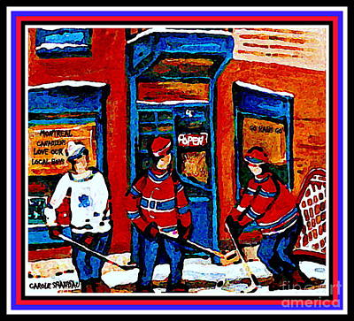 Our National Sport Painting - Wilenskys Hockey Art Posters Prints Cards Originals Commission Montreal Paintings Contact C Spandau by Carole Spandau