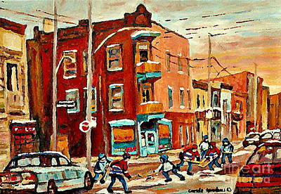 Painting - Wilenskys Paintings Hockey Art Commissions Originals Prints By Authentic Montreal Artist C Spandau by Carole Spandau