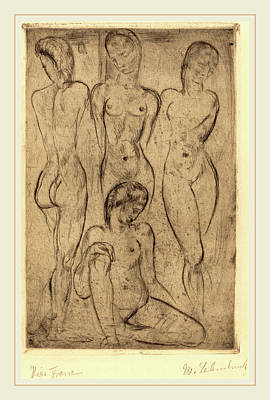 Wilhelm Lehmbruck, Four Women Three Standing, One Sitting Print by Litz Collection