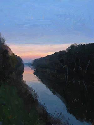 Holland Painting - Wilhelmina Canal Tilburg Fall 2012 by Nop Briex