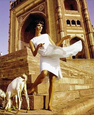Photograph - Wilhelmina Wearing A Larry Aldrich Dress by Henry Clarke