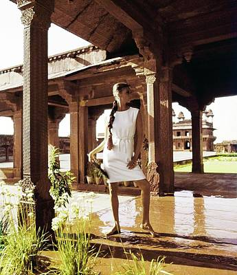 Photograph - Wilhelmina Wearing A White Linen Dress by Henry Clarke