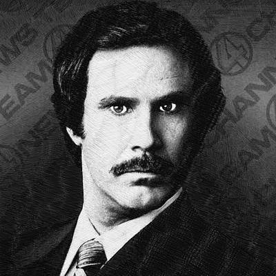 Oil Portrait Drawing - Will Ferrell Anchorman The Legend Of Ron Burgundy Drawing by Tony Rubino