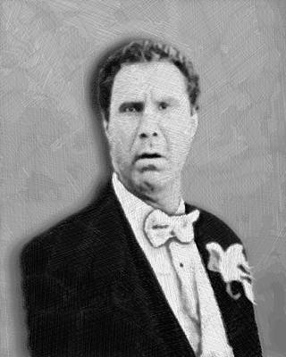 Black And White Art Mixed Media - Will Ferrell Old School  by Tony Rubino