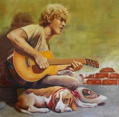 Haight Ashbury Painting - Will Sing For Dog Food by Debbie Patrick