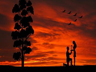 Dragons - Will You Marry Me Sunset Silhouette Series by David Dehner