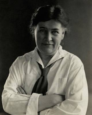 Button Down Shirt Photograph - Willa Cather Wearing A Tie by Edward Steichen