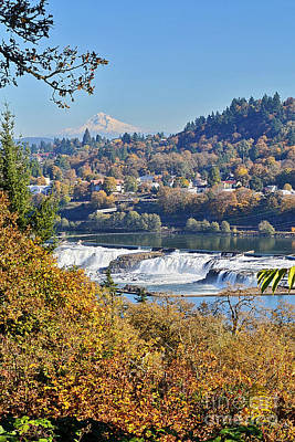 Photograph - Willamette Falls And Mt Hood by Ansel Price