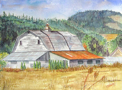Art Print featuring the painting Willamette Valley Barn by Carol Flagg