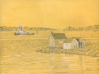 Drawing - Willard Beach Fishing Shacks by Dominic White