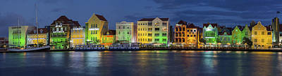 Willemstad Curacao At Night Panoramic Art Print by Adam Romanowicz