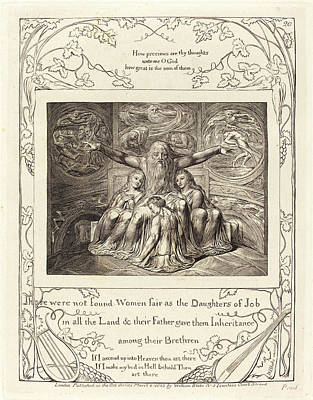 Blake Drawing - William Blake, British 1757-1827, Job And His Daughters by Litz Collection