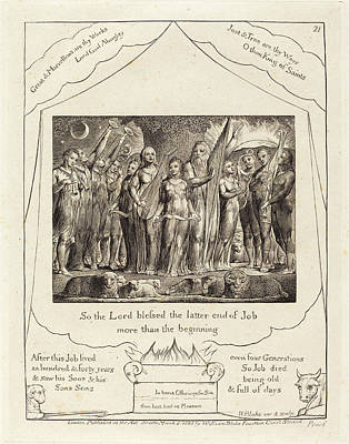 Blake Drawing - William Blake British, 1757 - 1827, Job And His Wife by Quint Lox