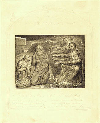 Blake Drawing - William Blake, British 1757-1827, Job Rebuked By His Friends by Litz Collection