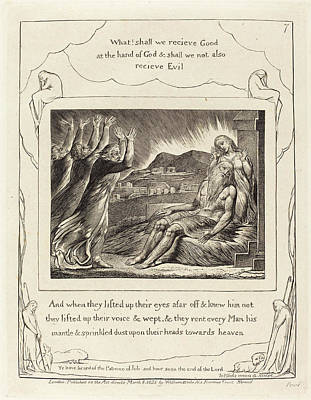 William Blake Drawing - William Blake British, 1757 - 1827, Jobs Comforters by Quint Lox