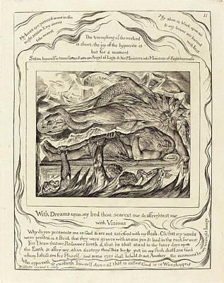 Blake Drawing - William Blake British, 1757 - 1827, Jobs Evil Dreams by Quint Lox