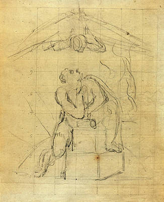 Blake Drawing - William Blake, British 1757-1827, Los And His Spectre Verso by Litz Collection