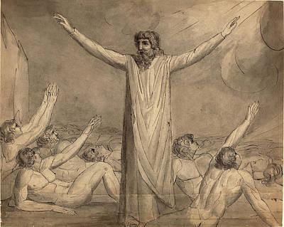 Blake Drawing - William Blake British, 1757 - 1827, Moses Staying by Quint Lox