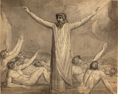 Blake Drawing - William Blake, British 1757-1827, Moses Staying The Plague by Litz Collection