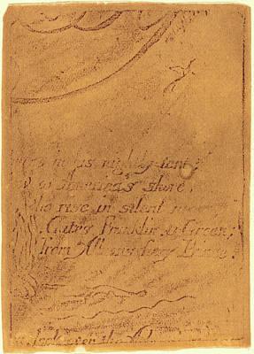 William Blake Drawing - William Blake, British 1757-1827, Restrike From Fragment by Litz Collection