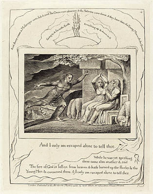 Blake Drawing - William Blake British, 1757 - 1827, The Messengers Tell Job by Quint Lox