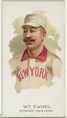Baseball Drawing - William Ewing, Baseball Player by Allen & Ginter