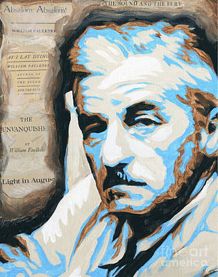 Fury Mixed Media - William Faulkner With Title Pages by Jenny Hall