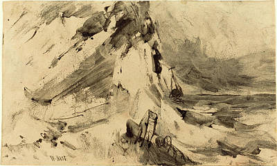 Storm Drawing - William Hart American, 1823 - 1894, Shipwreck In Storm by Quint Lox