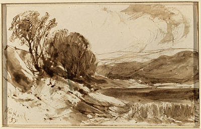 Wash Drawing - William Hart, Hilly Landscape With Trees by Quint Lox