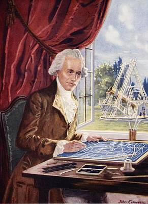 Physics Drawing - William Herschel At Work At Observatory by John Cameron