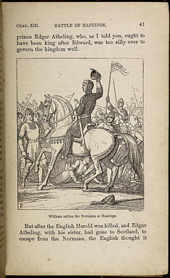 William Rallies The Normans At Hastings Art Print by British Library