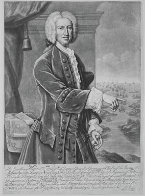 Shirley Drawing - William Shirley, Governor by Engraved by Peter Pelham