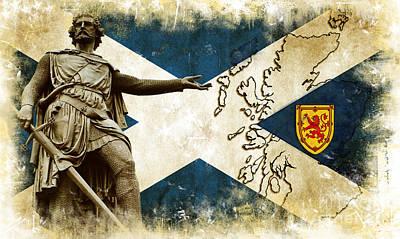 New Glasgow Digital Art - William Wallace Guardian Of Scotland II by Miryam  UrZa