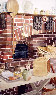 Colonial Williamsburg Painting - Williamsburg Kitchen by Jim Gerkin