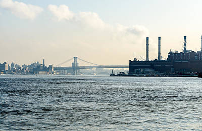 Photograph - Williamsburgh Bridge And Consolidated Edison's 105-year-old Waterside Steam Plant by Maureen E Ritter